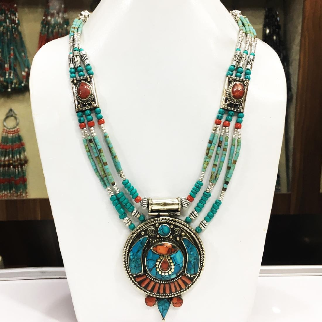 Tibetan Silver Coral Turquoise Beaded Necklace