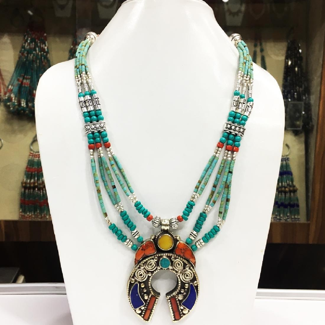 Tibetan Silver Turquoise & Coral Tribal Necklace