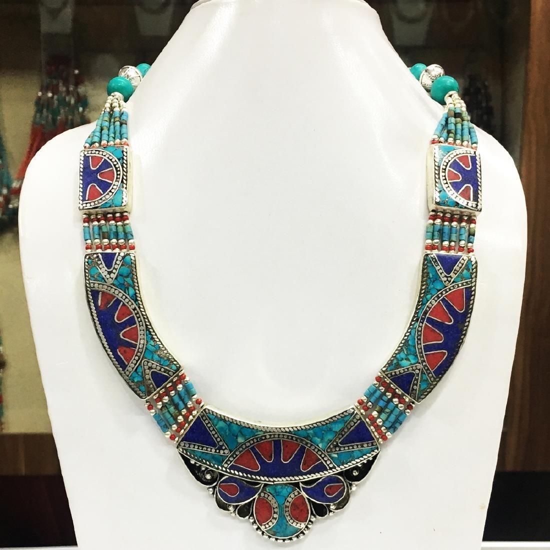 Tibetan Silver Turquoise & Lapis Handmade Necklace