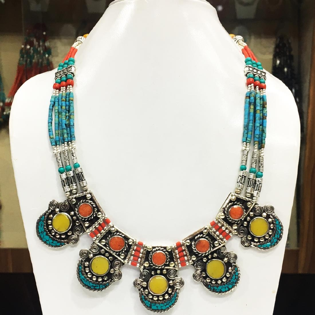 Turquoise Tibetan Silver Amber Necklace