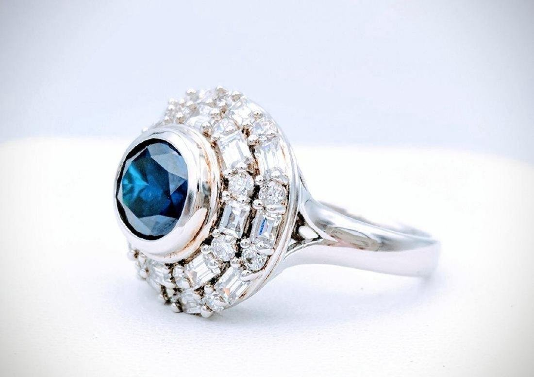 Sterling Silver Blue Sapphire Ring, 1.5ct