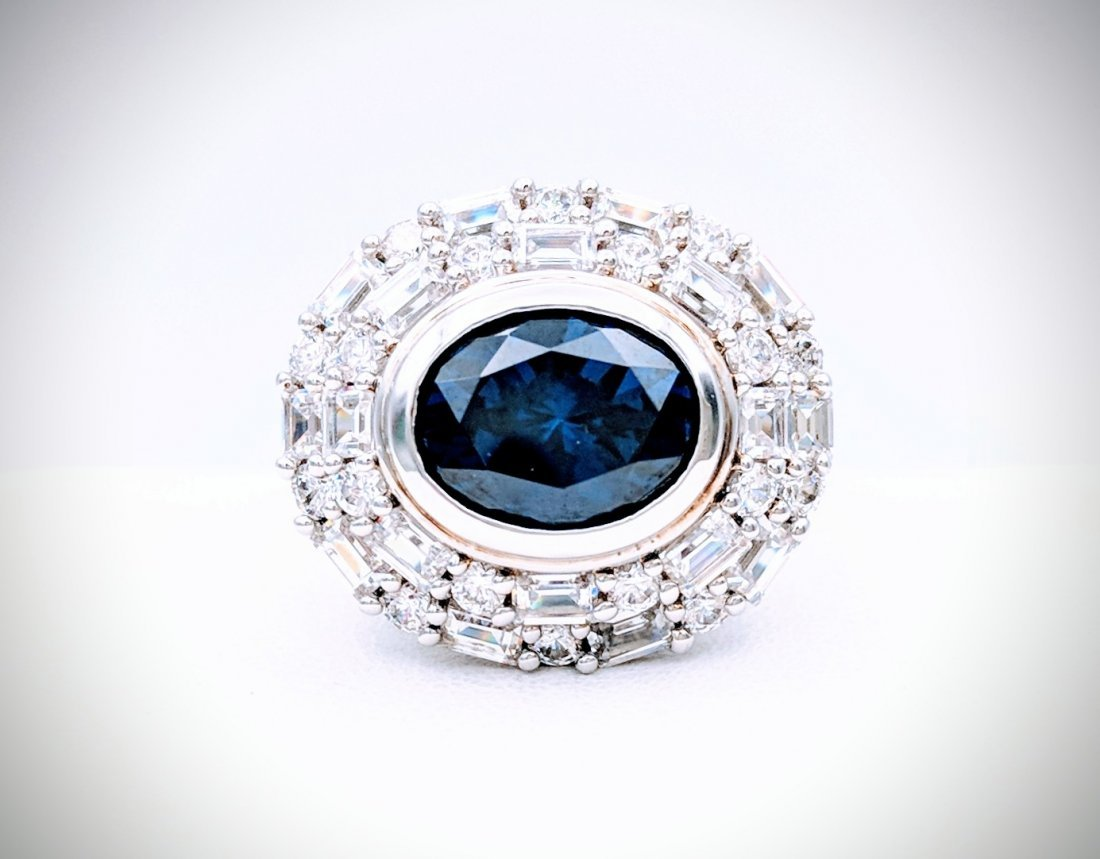 Sterling Silver Blue Sapphire Ring, 1.5ct - 2
