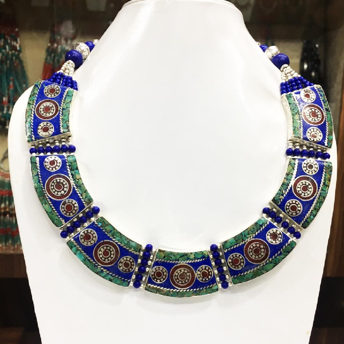 Tibetan Silver Lapis Turquoise & Coral Gypsy Necklace