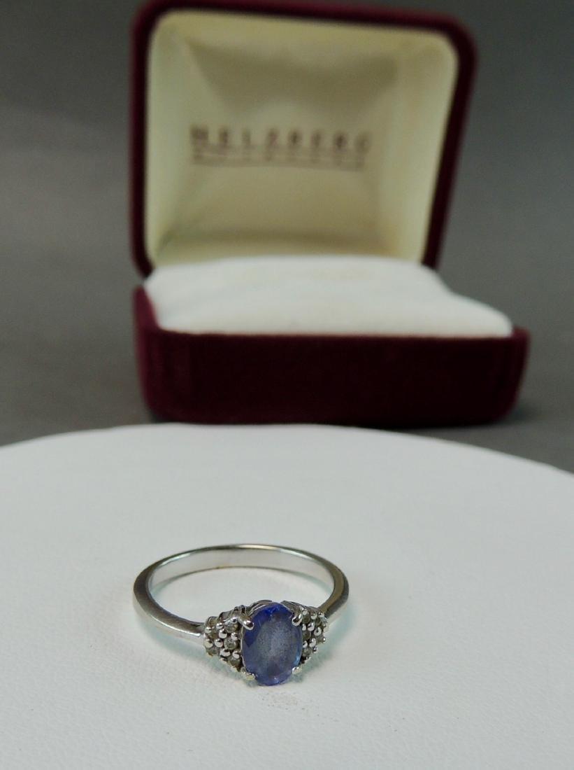 14K White Gold Ring Semi Precious Stone/ Diamonds