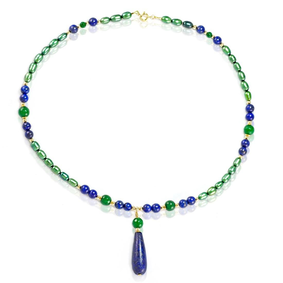 14K Gold Imperal Jade and Lapis Lazuli Necklace