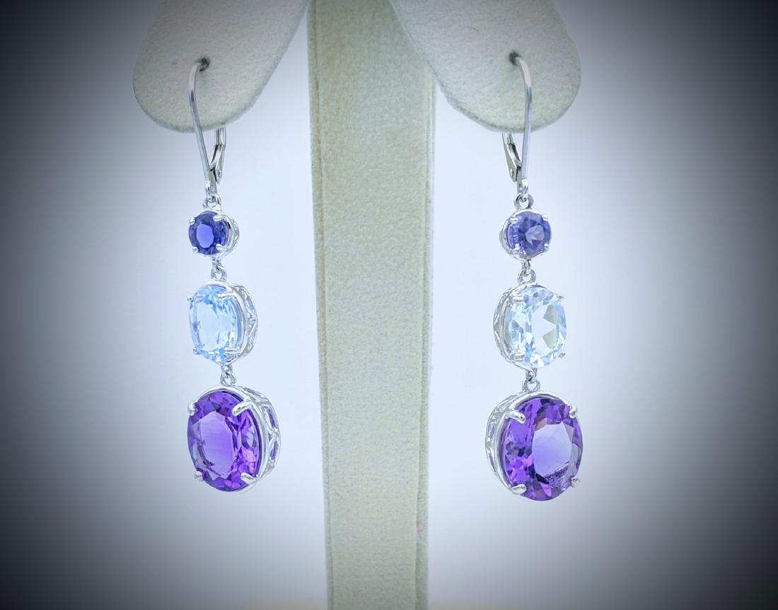 Sterling Silver Amethyst Blue Topaz Drop Earrings