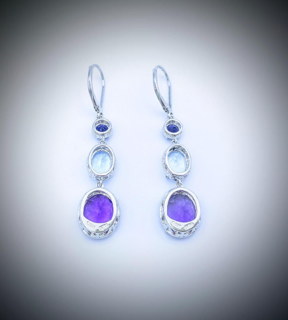 Sterling Silver Amethyst Blue Topaz Drop Earrings - 2