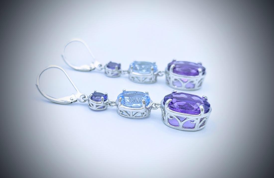 Sterling Silver Amethyst Blue Topaz Drop Earrings - 3