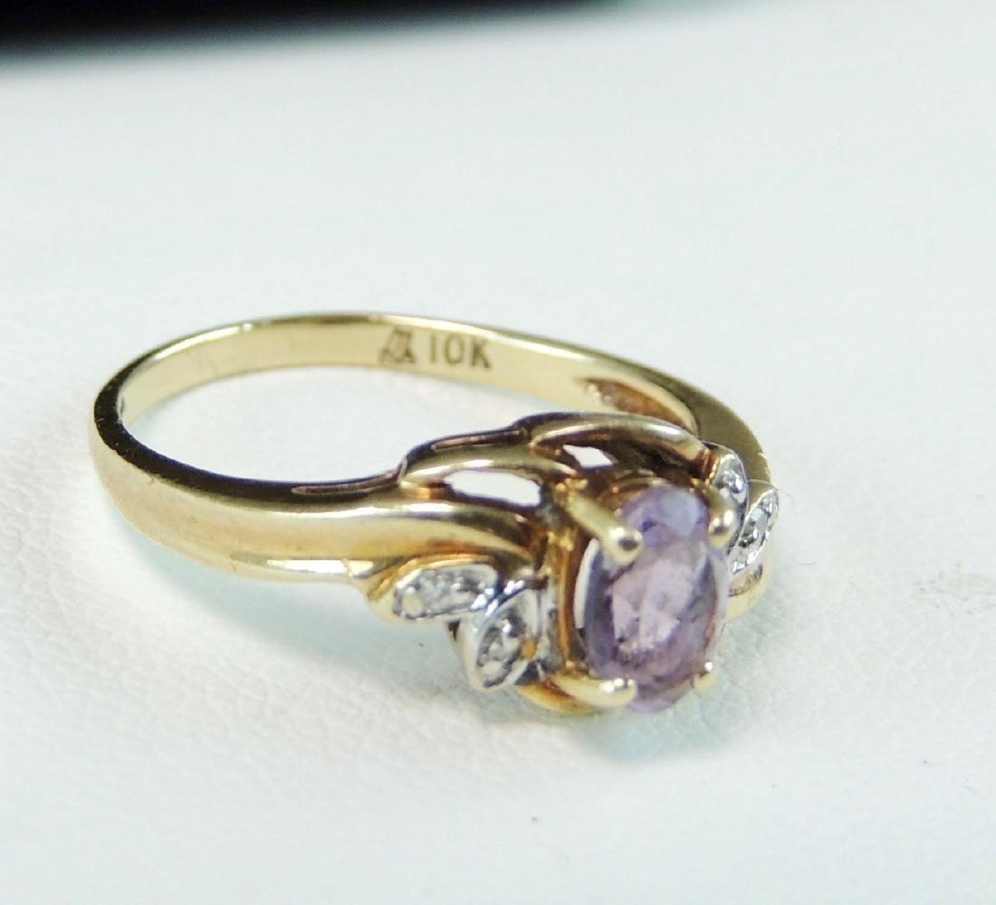 10K Yellow Gold Ring Semi Precious Stone & Diamonds