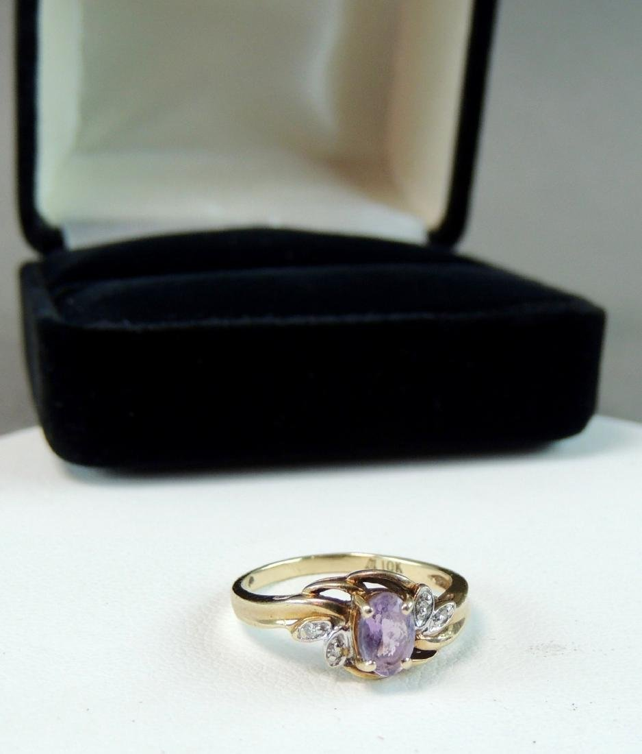 10K Yellow Gold Ring Semi Precious Stone & Diamonds - 2