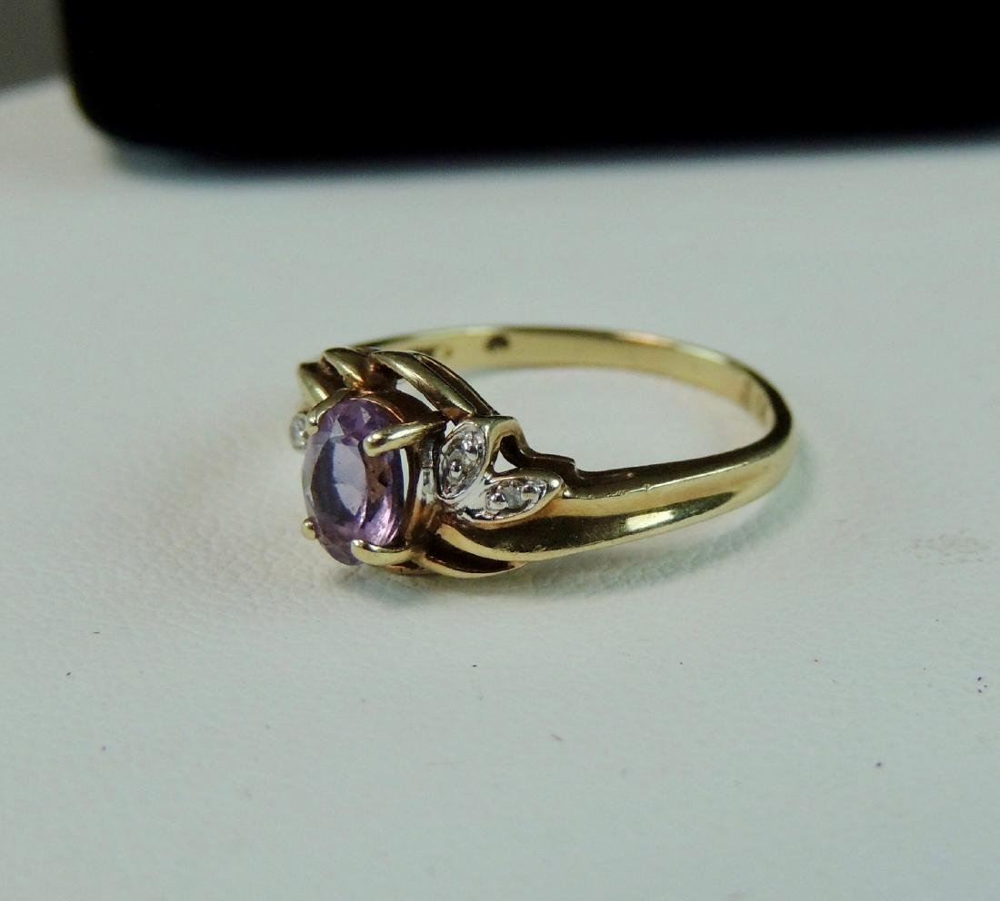 10K Yellow Gold Ring Semi Precious Stone & Diamonds - 3