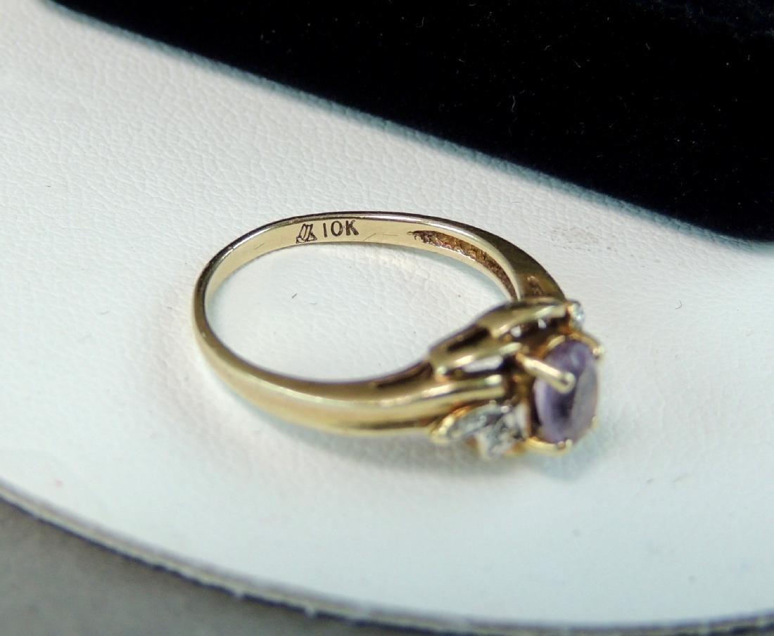 10K Yellow Gold Ring Semi Precious Stone & Diamonds - 4