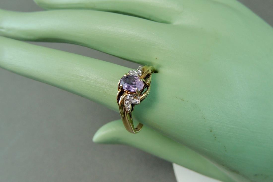 10K Yellow Gold Ring Semi Precious Stone & Diamonds - 5