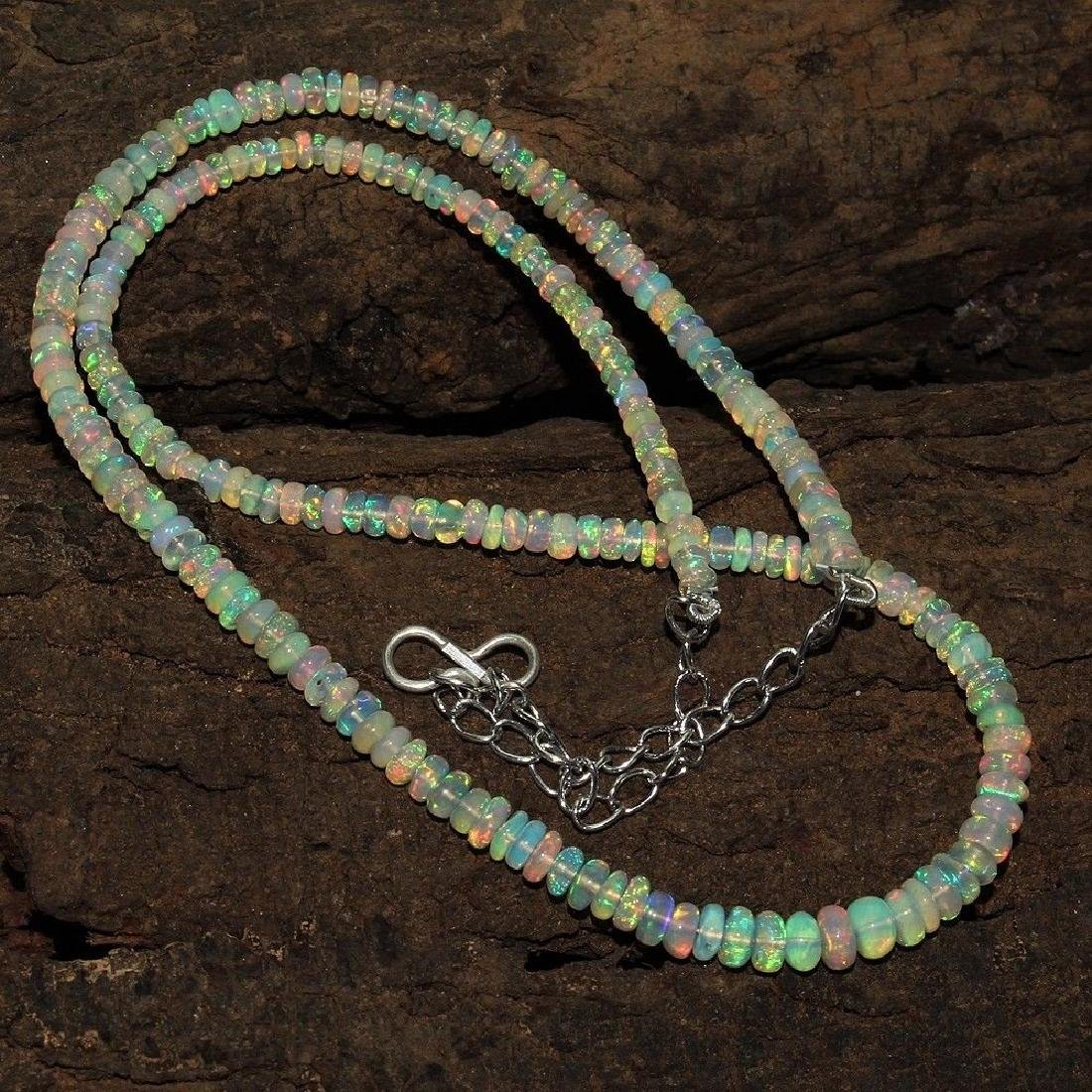 Sterling Silver Ethiopian Opal Bead Necklace, 44ctw