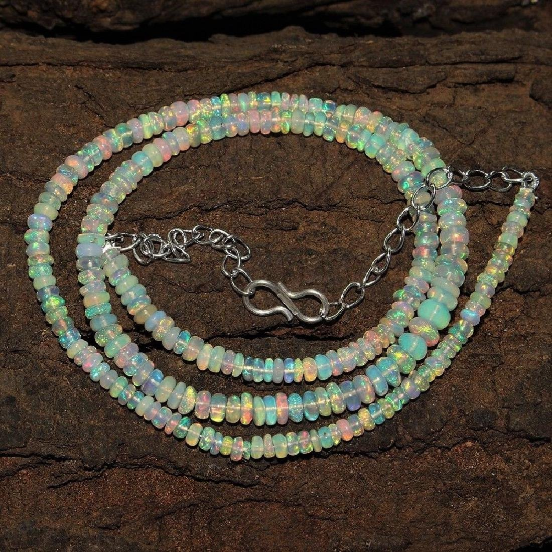Sterling Silver Ethiopian Opal Bead Necklace, 44ctw - 2