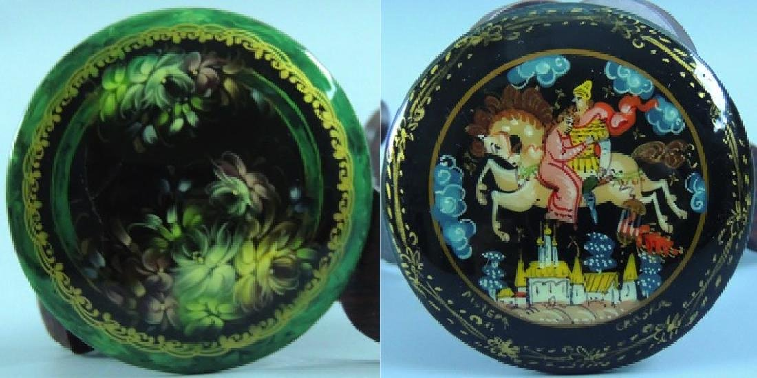 Russian Lacquer Hand Painted Brooch, Signed