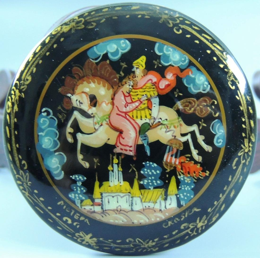 Russian Lacquer Hand Painted Brooch, Signed - 5