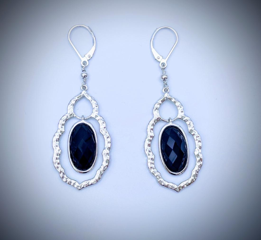 Sterling Silver Dangling Black Onyx Earrings