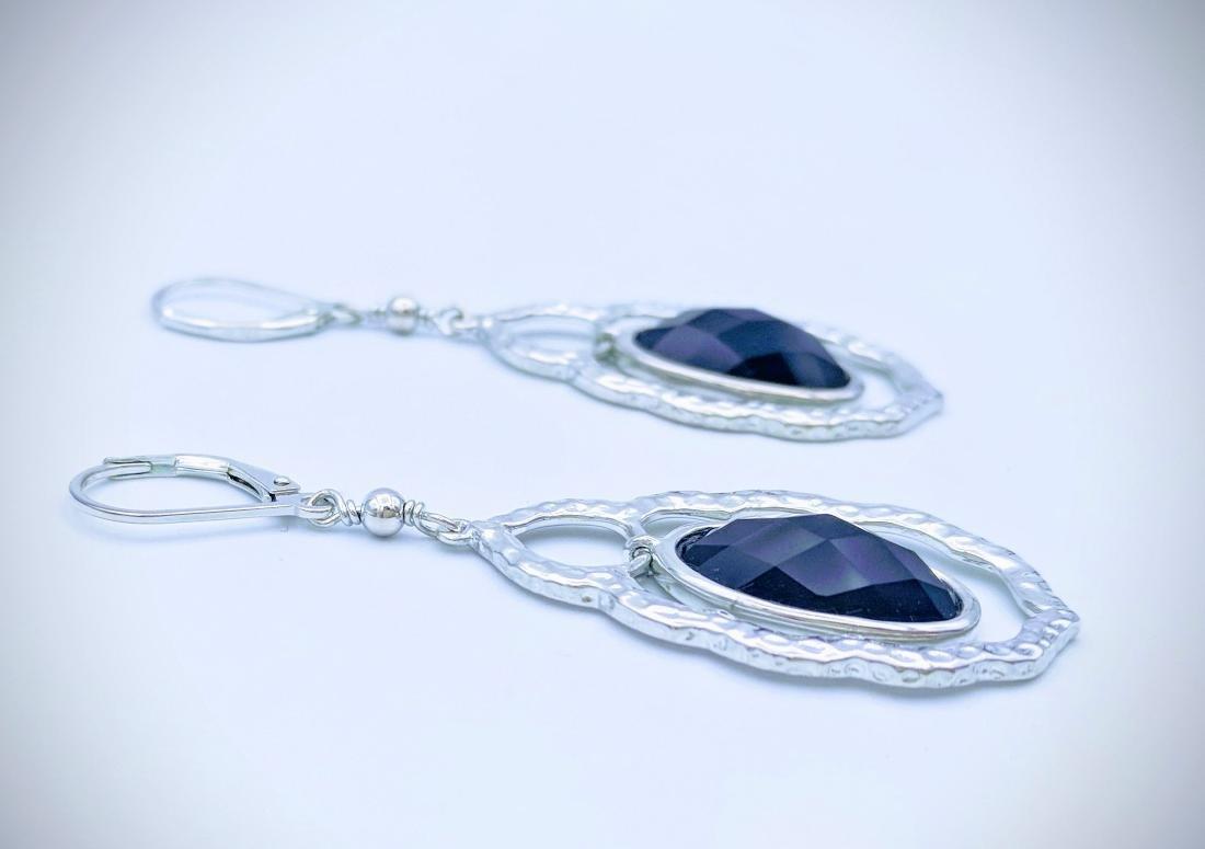 Sterling Silver Dangling Black Onyx Earrings - 2