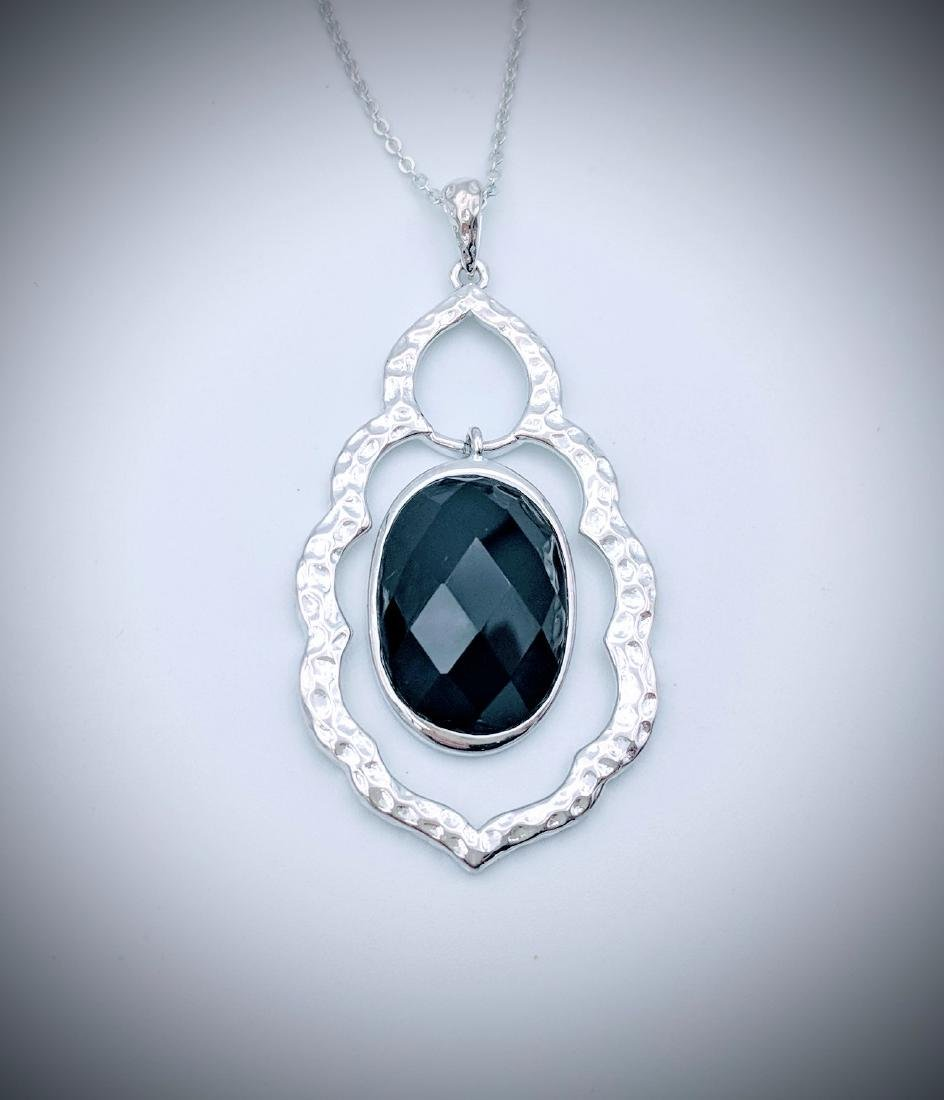 Sterling Silver Black Onyx Hammered Pendant Necklace