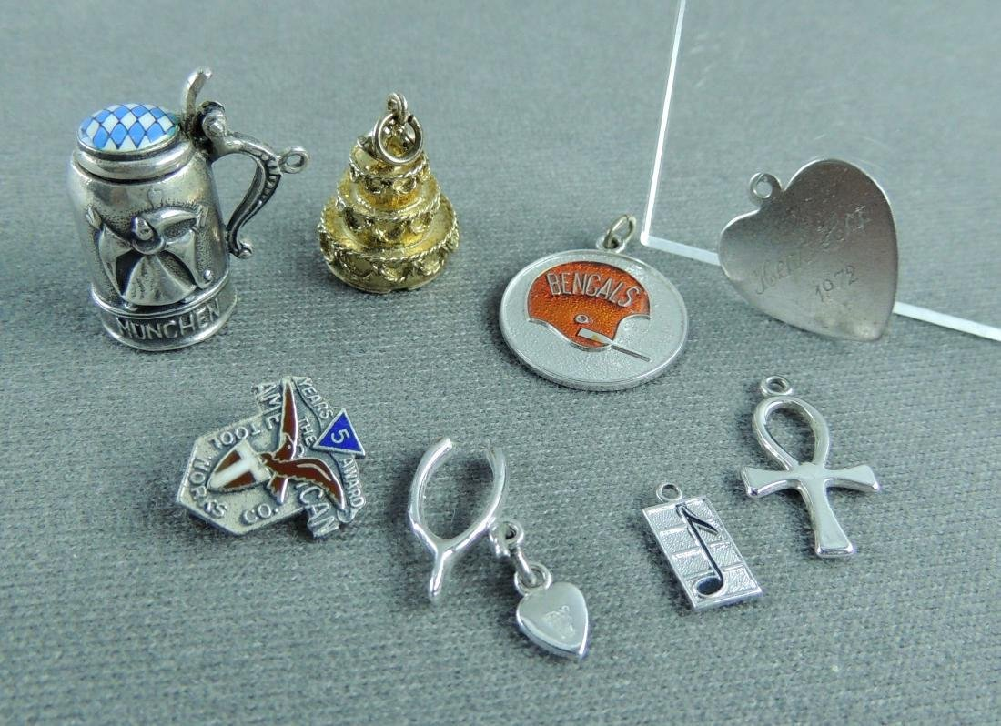 Assorted Sterling Silver Charms & Pin