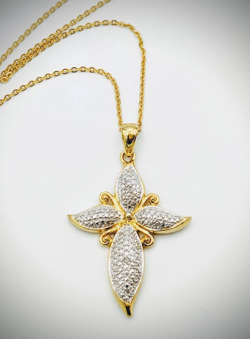 Gold Plated Sterling Silver Cross Necklace