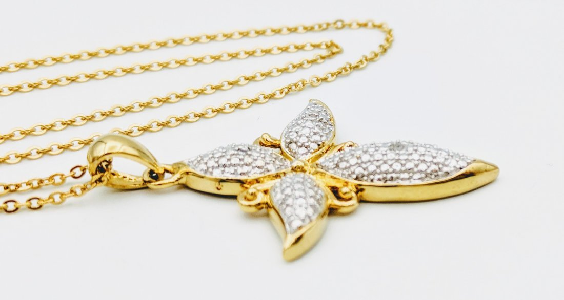 Gold Plated Sterling Silver Cross Necklace - 2
