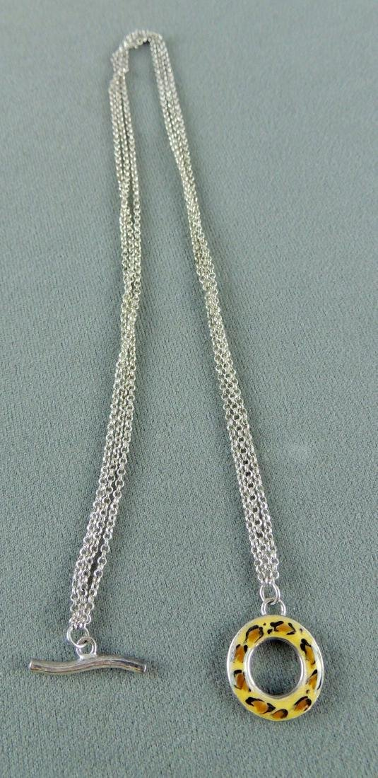David Sigal Sterling Silver Leopard Toggle Necklace