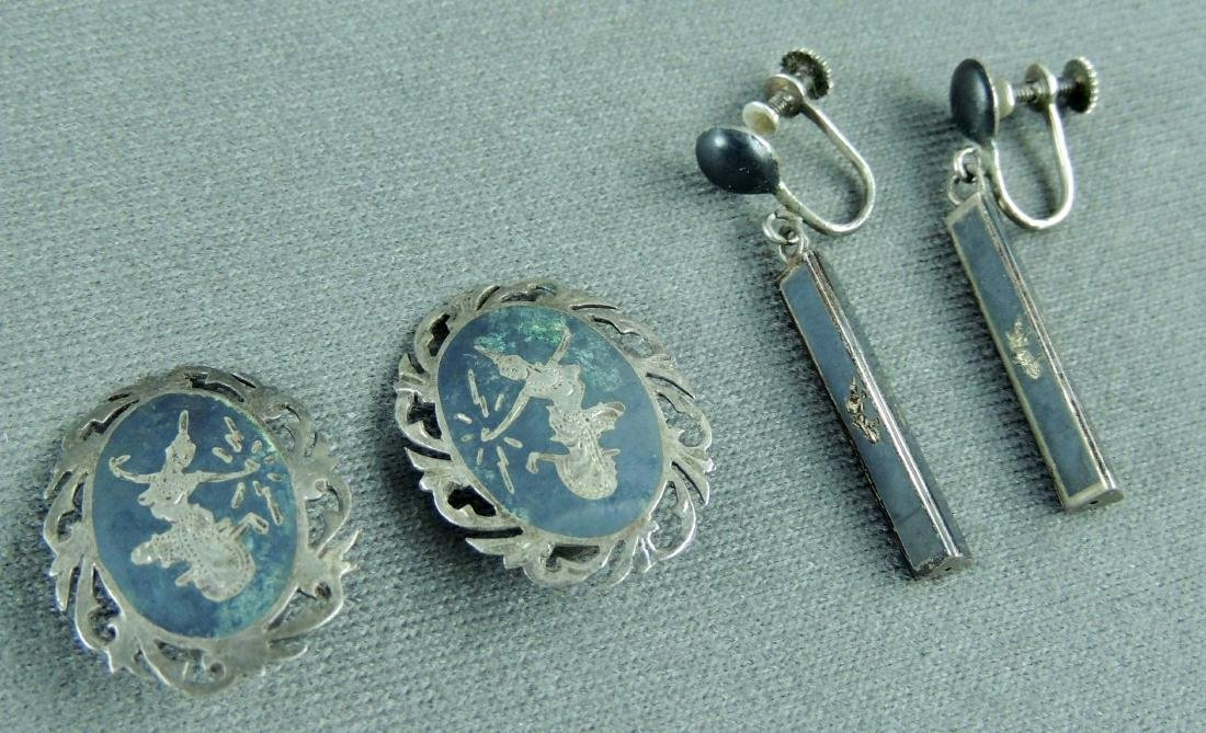 Vintage SIAM Sterling Silver Nielloware Jewelry Lot - 3