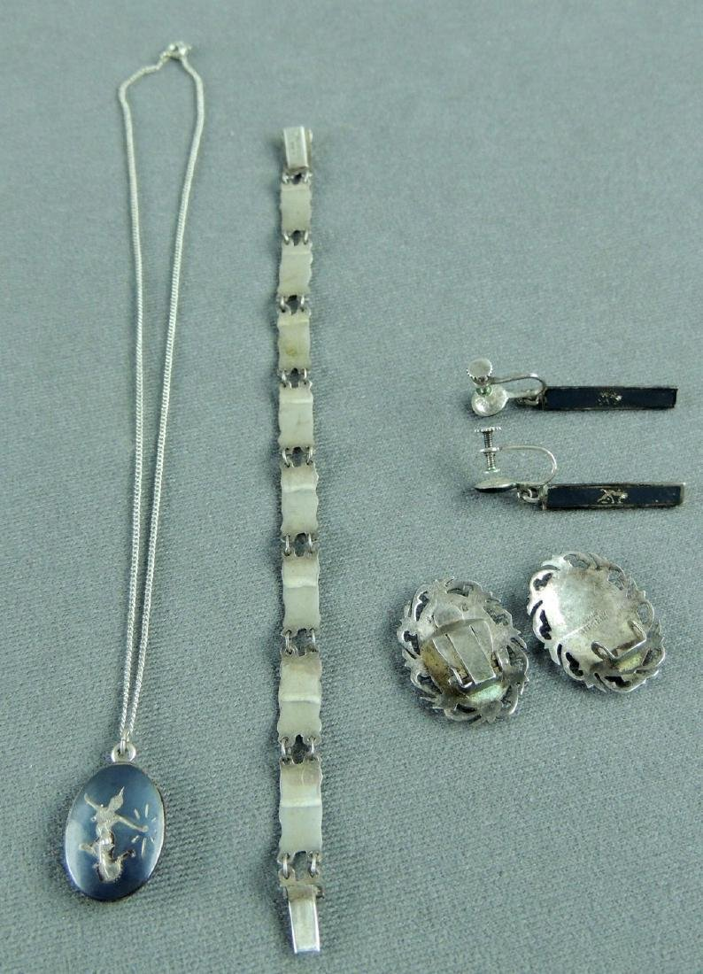 Vintage SIAM Sterling Silver Nielloware Jewelry Lot - 4