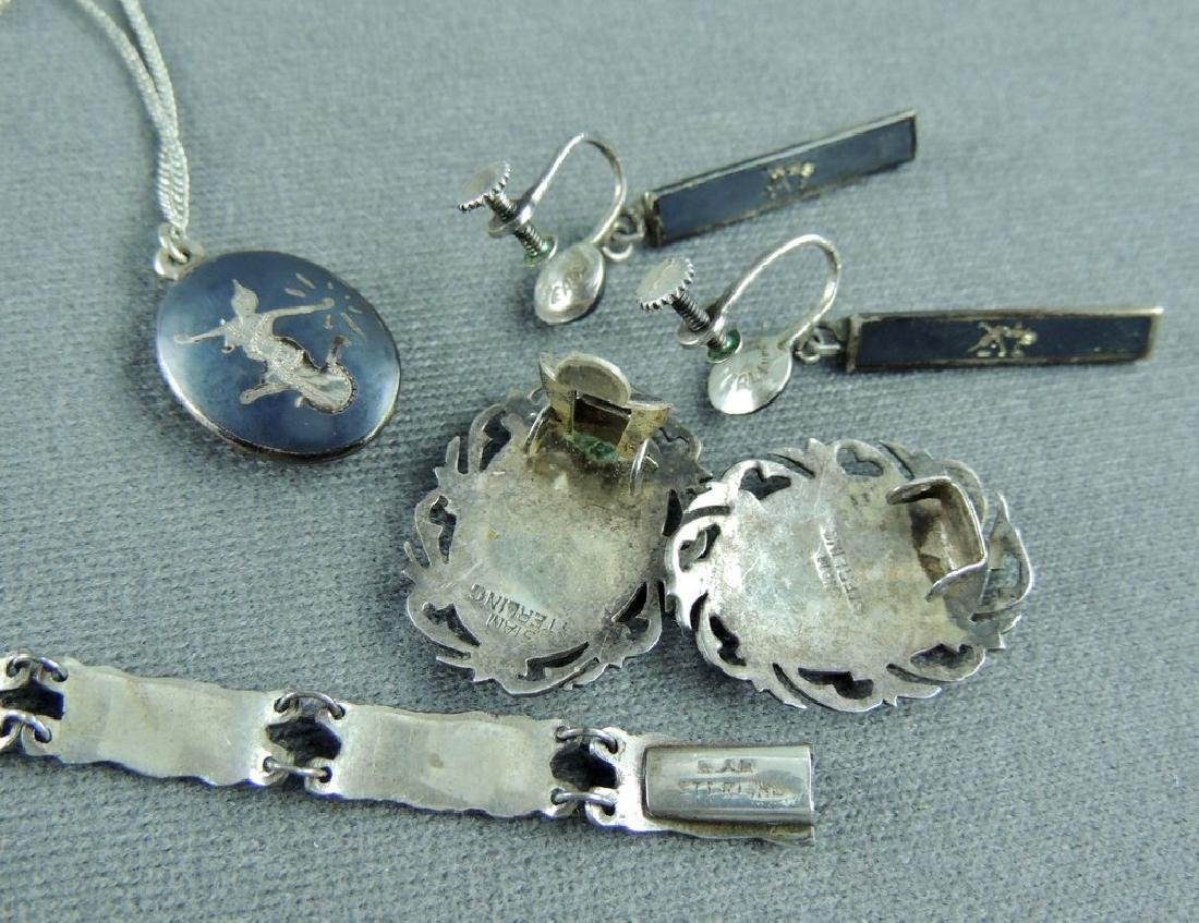 Vintage SIAM Sterling Silver Nielloware Jewelry Lot - 5