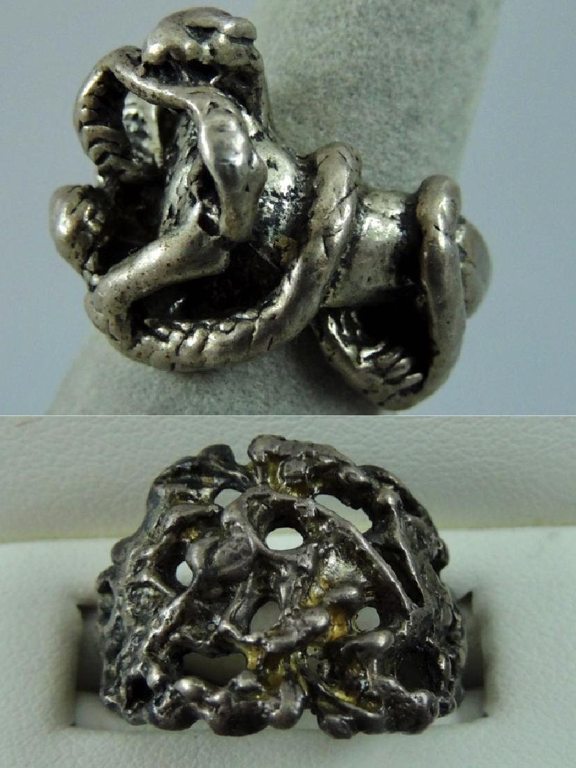 Vintage Gothic & Serpent Sterling Silver Ring - Pair