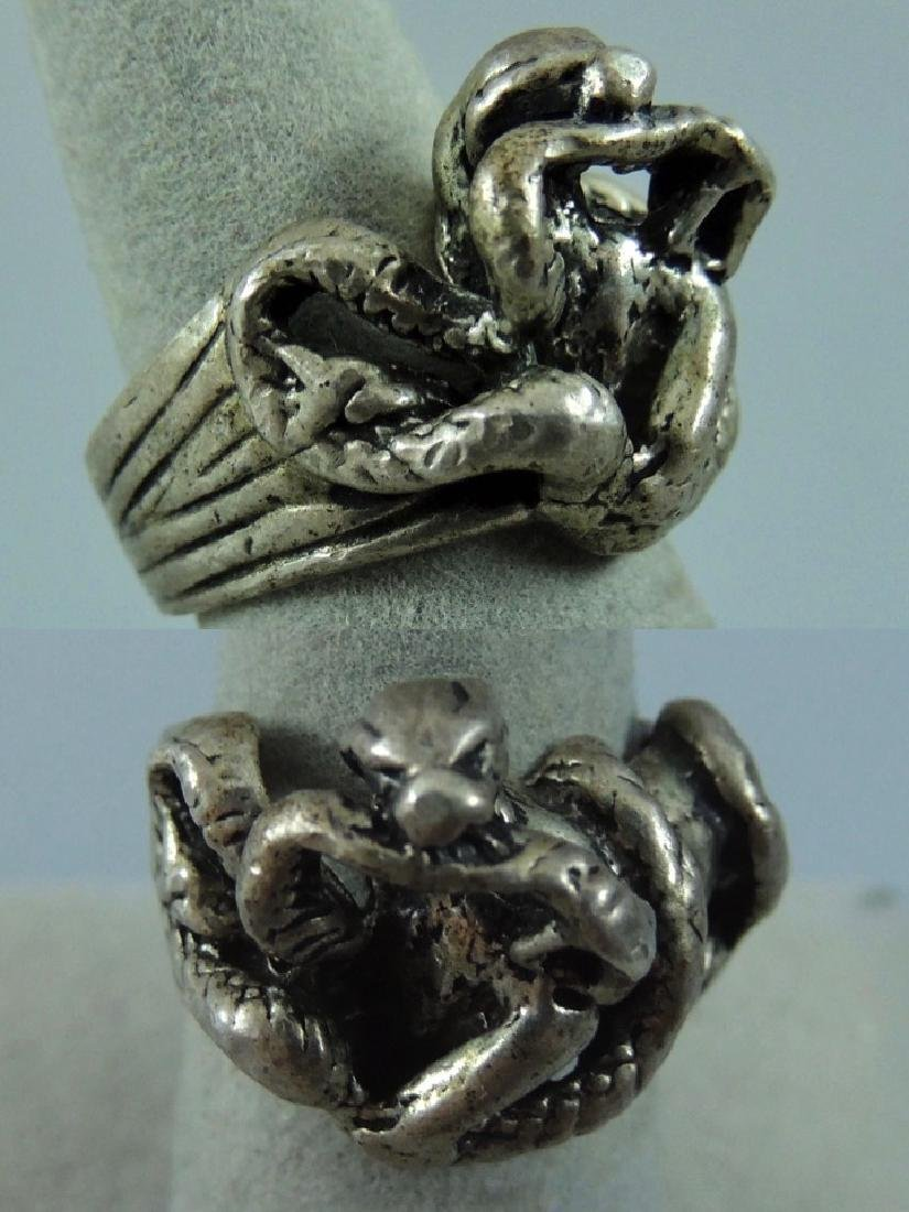 Vintage Gothic & Serpent Sterling Silver Ring - Pair - 2