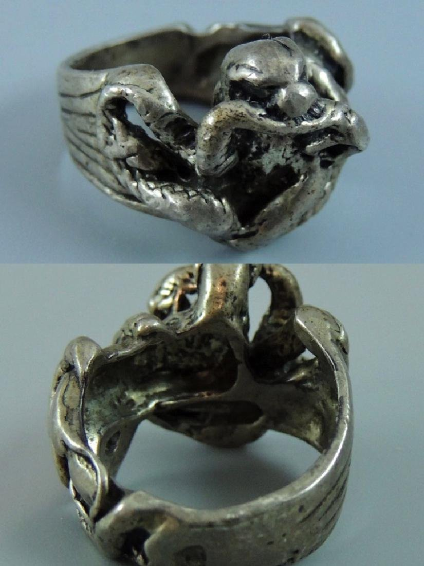 Vintage Gothic & Serpent Sterling Silver Ring - Pair - 4