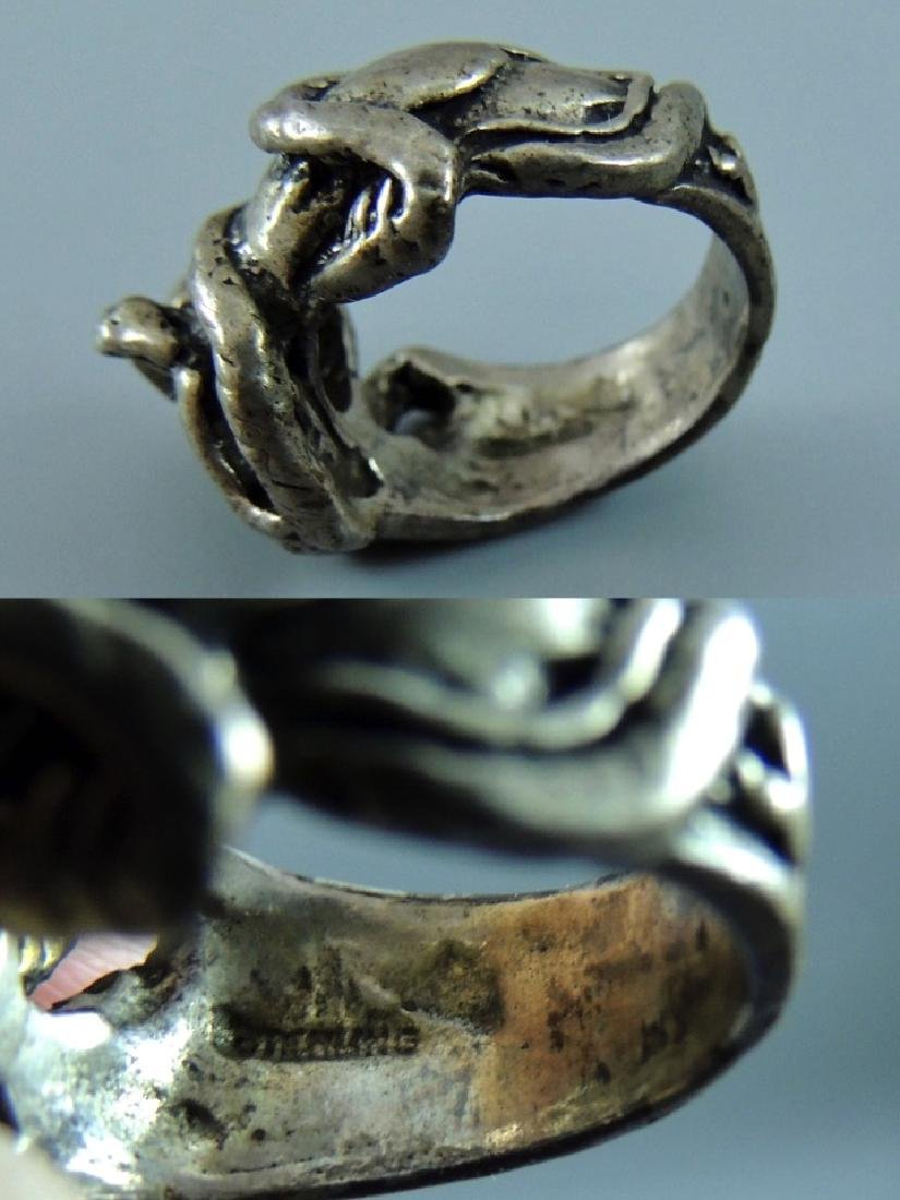 Vintage Gothic & Serpent Sterling Silver Ring - Pair - 5