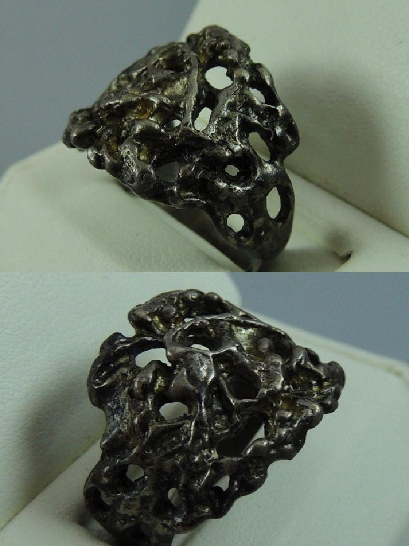 Vintage Gothic & Serpent Sterling Silver Ring - Pair - 6