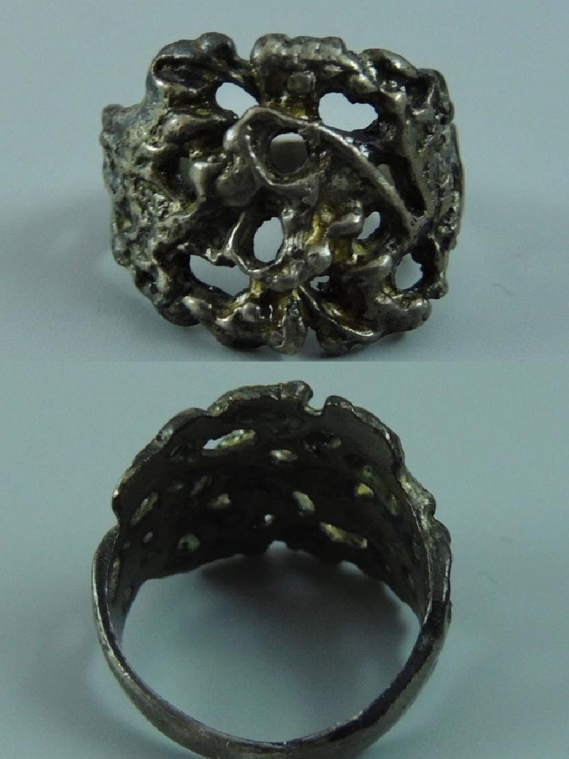 Vintage Gothic & Serpent Sterling Silver Ring - Pair - 7
