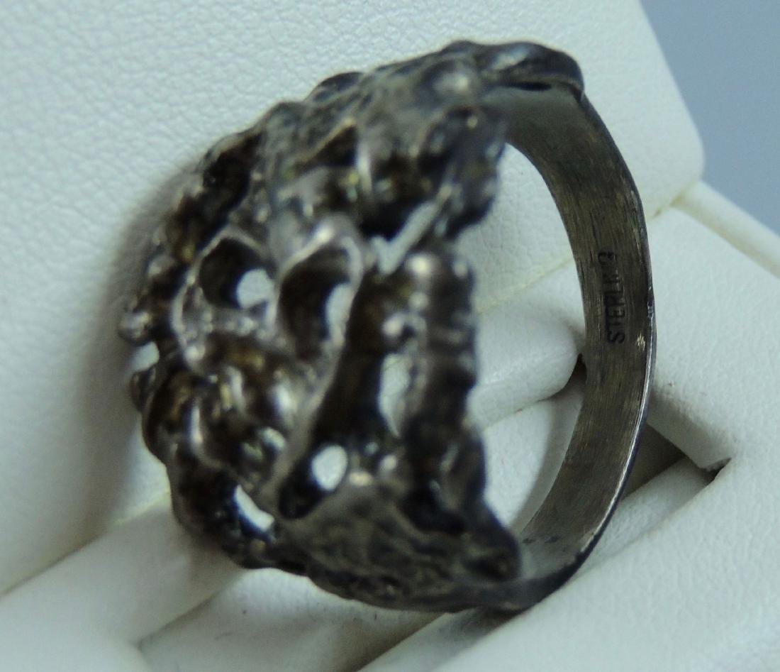 Vintage Gothic & Serpent Sterling Silver Ring - Pair - 9