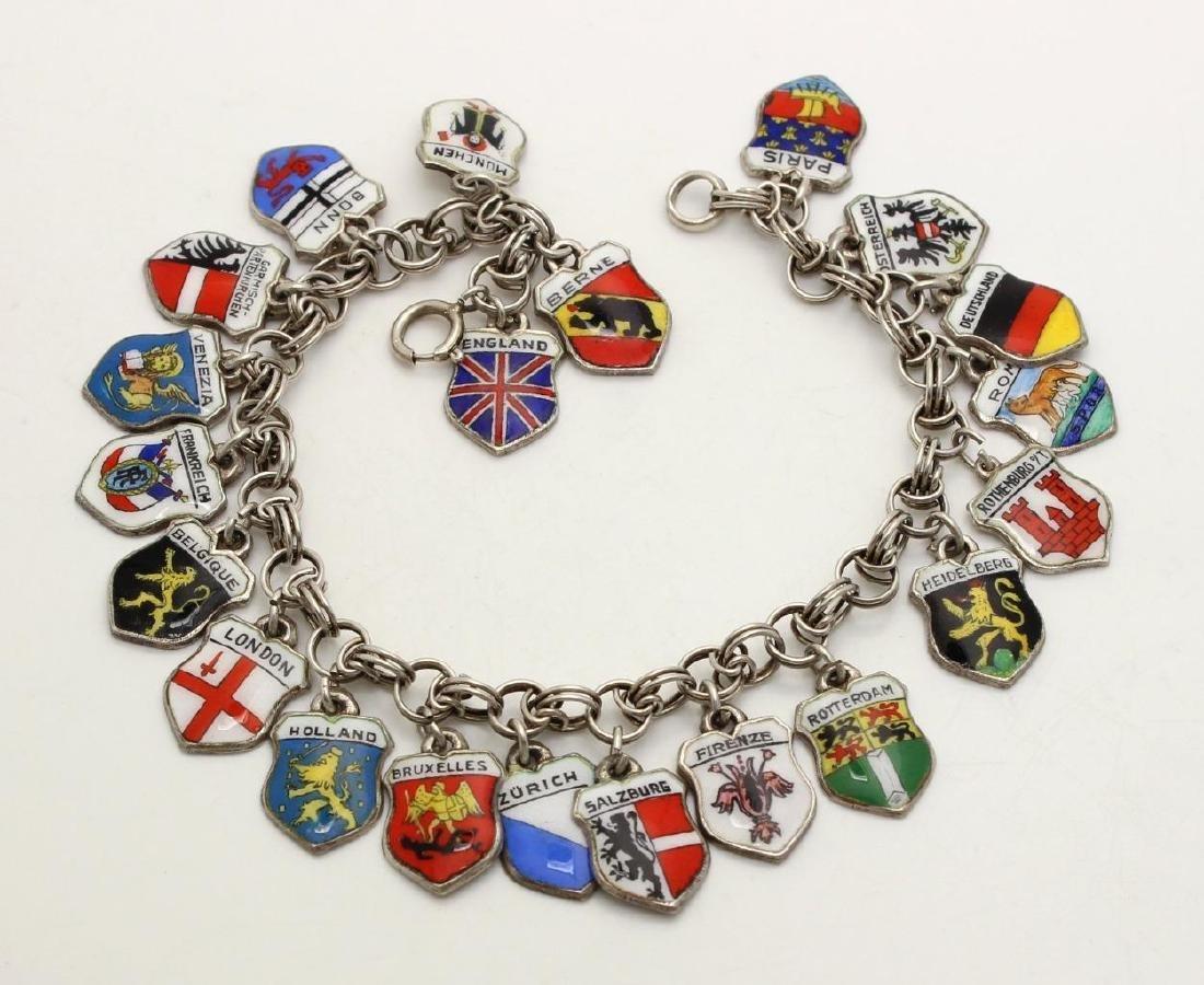 Vintage 800 Silver Enamel Travel Charm Bracelet