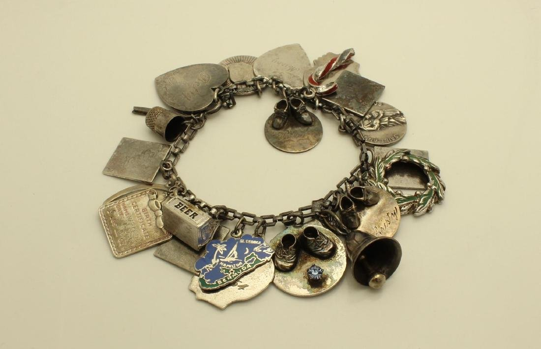 Vintage Sterling Silver Charm Bracelet With 24 Charms