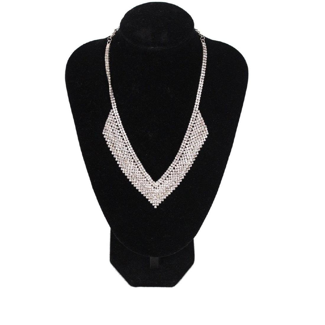 Vintage Pave Rhinestones V Shaped Necklace