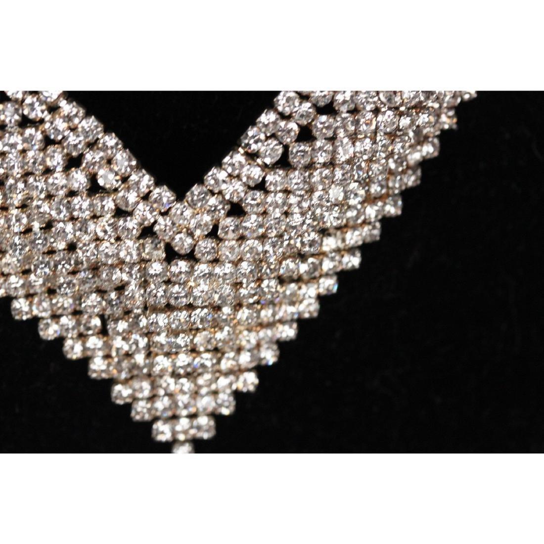 Vintage Pave Rhinestones V Shaped Necklace - 2