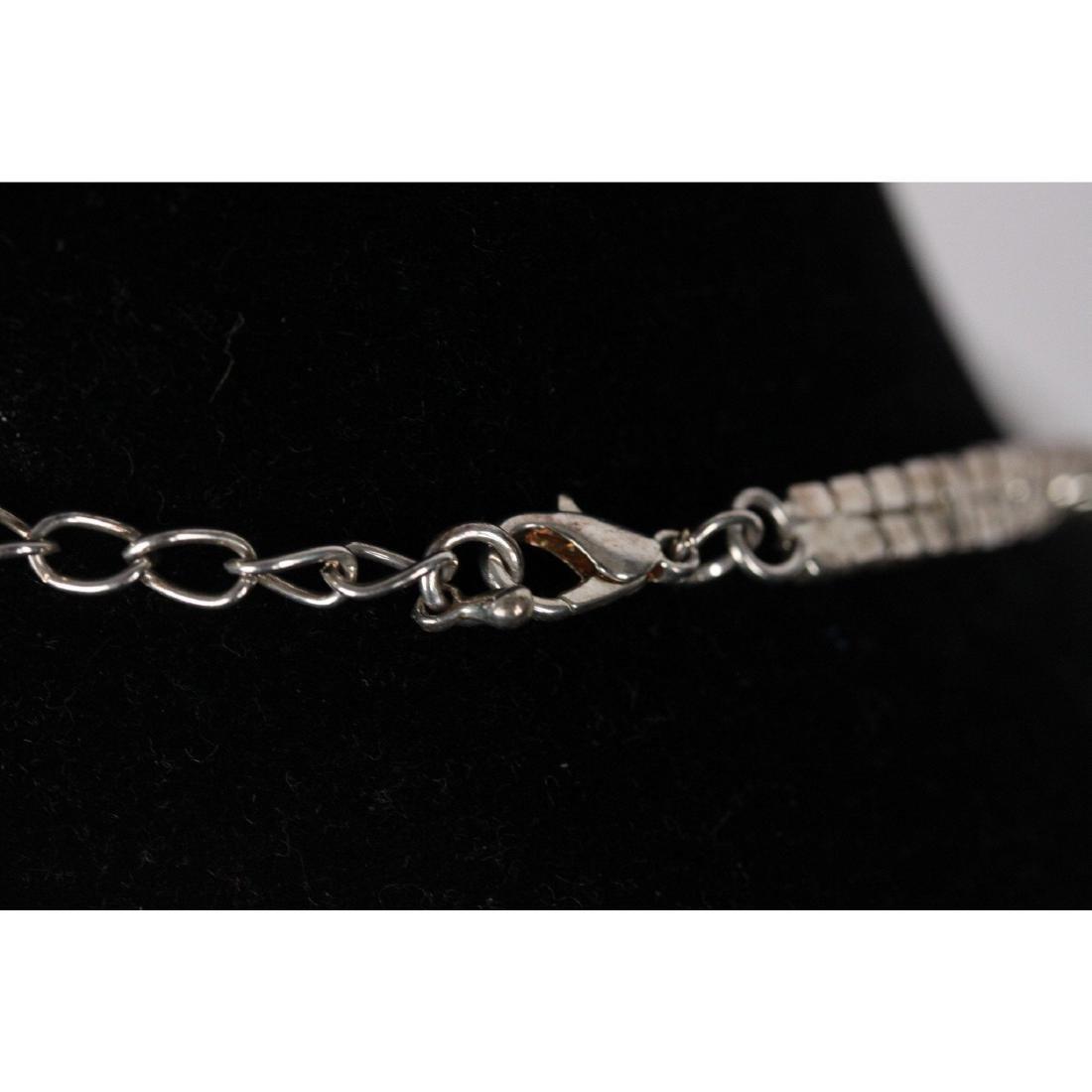 Vintage Pave Rhinestones V Shaped Necklace - 4