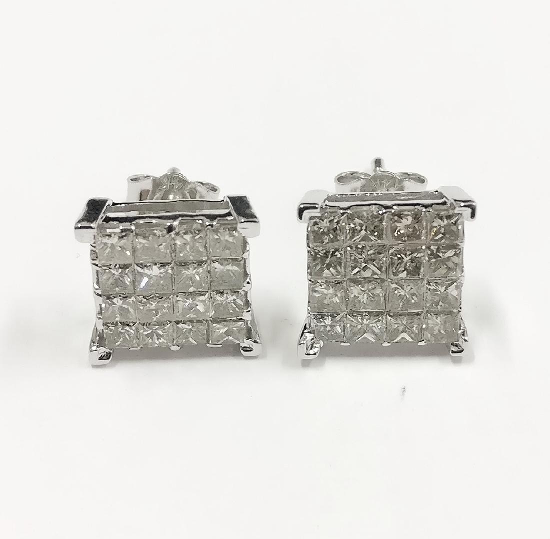 14k Gold Princess cut Diamond Earrings, 1.91ctw