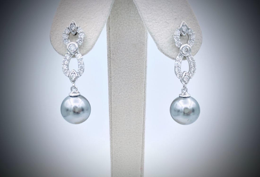 Sterling Silver Gray Pearl Infinity Style Earrings w CZ