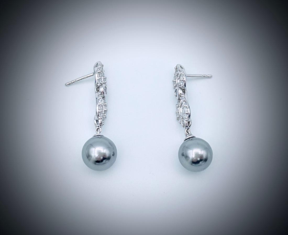 Sterling Silver Gray Pearl Infinity Style Earrings w CZ - 2