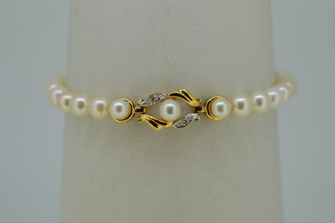 14K Gold Akoya Pearl Diamond Bracelet