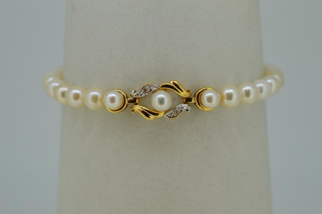 14K Gold Akoya Pearl Diamond Bracelet - 2
