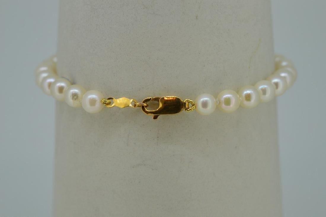 14K Gold Akoya Pearl Diamond Bracelet - 3