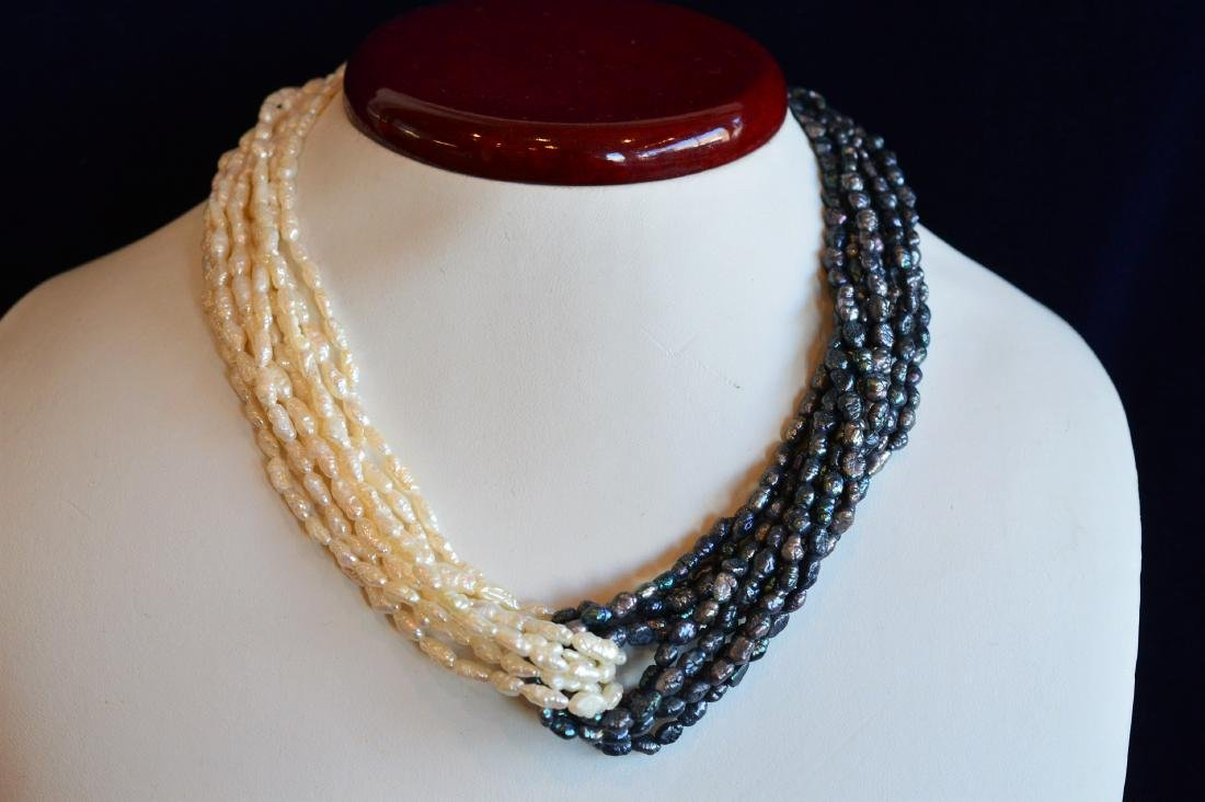 Ladies 10 Strand Cream & Blue Seed Pearl Twist Choker
